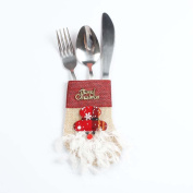 Souarts Kitchen Cutlery Suit Holders Pockets Forks Bag Santa Shaped Christmas Decoration
