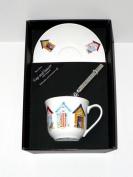 Beach hut cup and saucer set, bone china gift boxed set wtih teaspoon