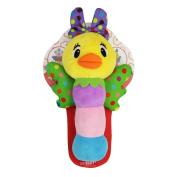 Qiyun Rattles Cute Animal Shaped Baby Cartoon Hand Ring Bell Rattles Kid Plush Soft BB Stick Toys for Children Giftstyle:Little ducks