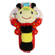 Qiyun Rattles Cute Animal Shaped Baby Cartoon Hand Ring Bell Rattles Kid Plush Soft BB Stick Toys for Children Giftstyle:bee