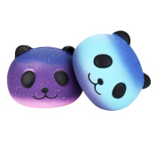 Soft Slow Rising Squeeze Toy, jieju Fun 2PCS Galaxy Panda Cute Scented Squishies Slow Rising Soft Squeeze Charms Toy
