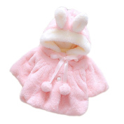 Vococal Cute Fluffy Thick Faux Fur Baby Infant Girl Winter Warm Hooded Cape Cloak Hoodie Coat Jacket Size 80 For 0-1 Year Old Pink