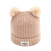 Anglewolf Fashion Newborn Toddler Baby Children Cute Ball Cap Letter Winter Warm Cotton Hats Knitted Wool Hemming Unisex Baby Kids Beanies Hat