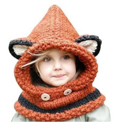 Casadeiy Fox shawl orange Sunroyal Woollen Hat Knit Fox Winter Kid's Scarf Warm Cartoon Hat
