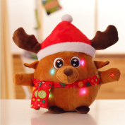 Qiyun Music Christmas Doll Christmas Deer Santa Claus Music Flash Doll Cartoon Short Plush Children Adult Toy Decoration Giftstyle:Music Christmas deer; height:Small 20 cm