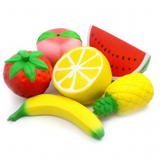 TOYMYTOY 6pcs Jumbo Soft Slow Rising Toys Strawberry Peach Banana Lemon Watermelon Pineapple Charms Fruit Toys For Kids and Adults