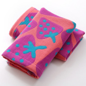 Affe 2 Pcs/Lot Cute Strawberry 3 Layers Baby Face Towels Cotton Gauze Washcloths Bath Shower Wipe Towel,Red