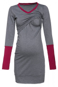 Happy Mama Women's Nursing Tunic Sweatshirt Top Contrast Details Maternity. 514p