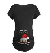 Binhee Women's Maternity Tops Santa Peeking Pattern Pregnancy Shirts