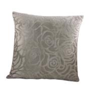 Haodou Rose Flower Cushion Cover for Sofa/Car Short plush Pillowcases Square Pillow Cover Decorative-Grey