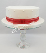 Cake Topper Christmas or Celebration Cake Ribbon 1 Metre & Matching Bow Red Organza