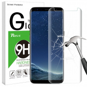 Galaxy S8 Plus Screen Protector, Rusee Galaxy S8 Plus Tempered Glass Screen Protector, Full Coverage, Ultra HD Clear, Anti-Scratch, Bubble Free, Curved Protective Film Cover for Samsung Galaxy S8+