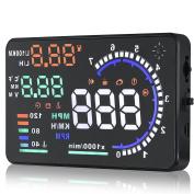 A8 14cm Auto Car Head-Up Display HUD Projector OBD II Vehicle Speeding Warning MPH with Anti-slip Pad Fuel Speedometers