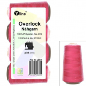 Set of 4 Spools Overlock Thread, Pink, XS M, NE 40/2, 100% Polyester Sewing Thread, Sewing Machines, 2892