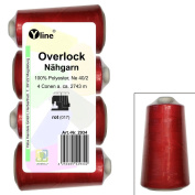 Set of 4 Spools Overlock Thread, Ruby Red, XS M, NE 40/2, 100% Polyester Sewing Thread, Sewing Machines, 2936