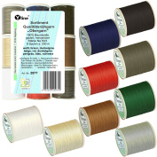 'sort. 9 Spools 200 m Outer Thread Different Standard Colours, NE 50/3, 100% Cotton Quality Sewing Cotton for Sewing Machine – 2977
