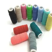 FQTANJU 12 pcs Round Shirring Elastic Craft cord, 12colors/pack