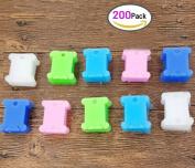 200pcs Plastic Embroidery Floss Craft Thread Bobbins Supplies Organiser Storage Holder for Cross Stitch Sewing Needlecraft