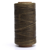 KING DO WAY 1 Spool Flat Sewing Coarse Braid Waxed Thread For Leather Craft Repair Army Green 260m