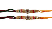 PMK Set of Two Rakhi, Stone With Rudraksha Design Rakhi thread, Raksha bandhan Gift for your Brother, Yellow Green Colour Thread.Colour Vary and Multi Design