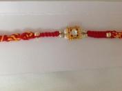 Rakhi Single Silver Stone with Gold Beaded Multi coloured Red Thread Raksha Bandhan NEW