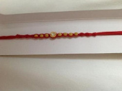 Rakhi Single Silver Stones with Brown Beads with Red & Thread Brother Bond NEW
