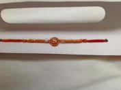 Rakhi Single Silver Stones with Brown Beads with Red & Yellow Thread Brother Bond NEW