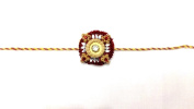 Elegant Round Stone and Wooden Design – Rakhi Thread/Rakhi Bracelet/Bhaiya Series