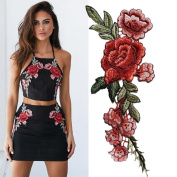 IGEMY 2PC DIY Embroidered Roses Floral Collar Sew Patch Sticker Applique Badge