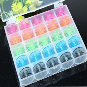 Hrph 25Pcs/Set Empty Bobbins Sewing Machine Spools Colourful Plastic Case Storage Box for Sewing Machine