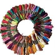 Hrph 100Pcs Cotton Thread Embroidery Thread Floss Sewing Skeins Craft Knitting Spiraea