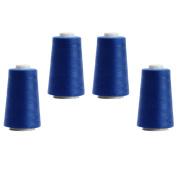 4 x 3000 Yds 2743.2 M/Cones Overlockgarn – 12.000 Yds 10972.8 M – 26 Colours To Choose From, 120 - Königsblau