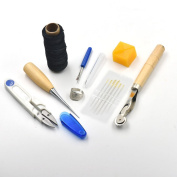 8 Pcs Sewing Tools Leather Carft wheel scissor Needles beeswax Awl Thread thimble ring Seam Ripper