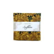 Fabric Freedom Sunflower Freedom Charm, 100% Cotton, Multicoloured, 13 x 13 x 1.5 cm