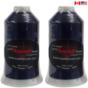SuperB Pack of 2 Embroidery polyester thread 5000m. Navy Blue 5553.