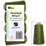 Pack of 4 Spools Overlock Sewing Cotton Army, Olive, XS M, NE 40/2, 100% Polyester Sewing Thread, Yarn Sewing 2939