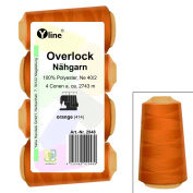 Pack of 4 Overlock Sewing Cotton, Orange, A. 2743 Yard Ne 40/2, 100% Polyester Sewing Thread, Yarn Sewing 2948