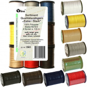 'sort. 9 Spools 100 m Extra Strong Assorted Colours Ne 16/3, 100% Polyester Quality Sewing Cotton for Sewing Machine – 2905