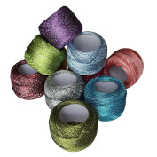 10 x Sparkly Colourful Glitter Cotton Crochet Thread Set by Curtzy - 92.95 Yards Crafts Knitting Yarn Lace Flowers Skein Skeins Balls - 929.50 Yards Total - Ideal for Beginners or Crochet Enthusiasts