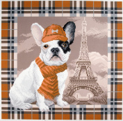 Duftin PA1693 Bulldog Print Cotton Embroidery Patterned Aida Paris Canvas Multi-Coloured 41 x 41 x 0.1 cm