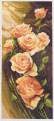 Duftin PA1052 Orange Roses On Aida with Multi-Coloured Floral Printed Cotton Embroidery 47 x 24 x 0.1 cm