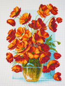Duftin PA1439 Poppy Vase Printed Cotton Embroidery with Aida Canvas Multi-Coloured 37 x 49 x 0.1 cm