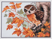 Duftin PA1010 Owl in Nest Aida Fabric with Printed Embroidery Design Multi-Coloured Cotton 28 x 34 x 0.1 cm