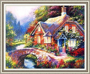 GMMH Diamond Picture 30 x 40 Diamond Painting Embroidery Painting Handmade Craft Mosaic Flower Basket Cottage by the Brook