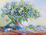 GMMH Diamond Picture 14 x 18 Diamond Painting Embroidery Painting Handmade Craft Mosaic Spring Blue Flowers