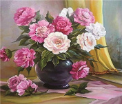 GMMH Diamond Photo 40 x 50 Diamond Painting Embroidery Painting Handmade Craft Mosaic Peonies Flower Basket