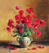 GMMH Diamond Photo 40 x 50 Diamond Painting Embroidery Painting Handmade Craft Mosaic Flower Basket poppy Poppies