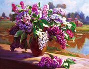 GMMH Diamond Painting Set Picture 14 x 18 CM Diamond Painting Embroidery Handmade Craft Mosaic Stone Flowers Basket Lilac