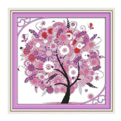 KAMIERFA DIY Cross Stitch Colourful Lucky Tree Embroidery Kit Home Decor Arts, Crafts & Sewing Cross Stitch