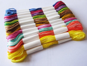 RAGE ACCESSORIES 20 x Skeins Coloured Embroidery Thread Cotton Cross Stitch Braiding Arts Craft Sewing